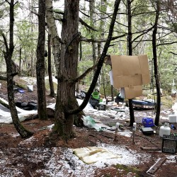 The makeshift campsite of Christopher Knight in Rome, Maine, in 2013.