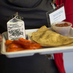 A school lunch consisting of a quesadilla was served at Bangor High School on Sept. 9, 2014, as part of a legislative task force presentation to end school hunger. The legislative task force showcased the school's success with students from low-income families.