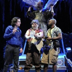 "Duwell, played by Doug Meswarb (second from right) shows reporter Sandy, played by Andrew Crowe (left), his brother Duane, portrayed by Arthur Morison (second from left), and photographer Lenny, played by Brian Michael, what the creature he felled looked like in ""Duck Hunter Shoots Angel"" at the Bangor Opera House."