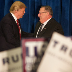 Presidential candidate Donald Trump shakes hands with Maine Gov. Paul LePage on March 3 at a campaign rally in Portland.
