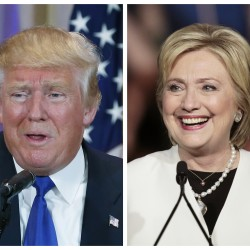 A combination photo shows Republican U.S. presidential candidate Donald Trump (left) in Palm Beach, Florida, and Democratic U.S. presidential candidate Hillary Clinton in Miami, Florida, at their respective Super Tuesday primaries campaign events on March 1.