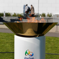 The Olympic flame is pictured in a cauldron after a ceremony for Rio 2016 in front of the Olympic Museum in Lausanne, Switzerland, on April 29.