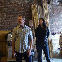 Abe Furth (left) and Heather Furth are planning to open an Orono Brewing Co. test brewery and tasting room in Bangor sometime in July. The pair also are  renovating the three floors above the future brewery into apartments.