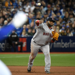 Boston Red Sox third baseman Pablo Sandoval throws to force out Toronto's Kevin Pillar in the seventh inning on April 9 at the Rogers Centre in Toronto.