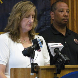 Judi and Wayne Richardson announce a $10,000 reward for information leading to the arrest and indictment of the person or persons responsible for the early 2010 death of their daughter, Darien, during a news conference at the Portland Police Department on Monday, July 23, 2012.