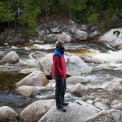 Lucas St. Clair, surrounded by Orin Falls in the North Woods of Maine, is trying to persuade the federal government to create a national monument with 87,500 acres of land donated by his family.