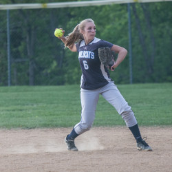 Presque Isle shortstop Hailey Cameron throws out a Houlton runner during the first inning Tuesday night in Presque Isle.