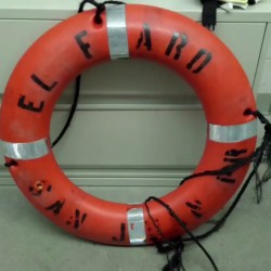 A life preserver ring from the cargo ship El Faro is pictured in this still image from an Oct. 4, 2015 U.S. Coast Guard handout video.