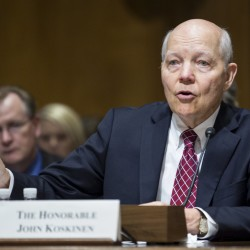 "IRS Commissioner John Koskinen testifies before a Senate Finance Committee hearing on ""Internal Revenue Service Data Theft Affecting Taxpayer Information"" on Capitol Hill in Washington, June 2, 2015."