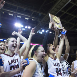 Narraguagus celebrates after defeating Penobscot Valley in the Class C North girls championship basketball game at the Cross Insurance Center in Bangor in February.