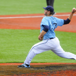 University of Maine's John Arel pitches to New York Institute of Technology during their baseball game on April 8 at Mahaney Diamond in Orono.