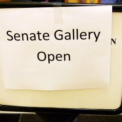 "A ""Senate Gallery Open"" sign can be seen in Augusta in this June 2015 file photo."