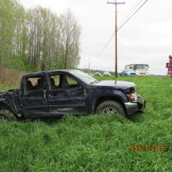 Carl McGlaughlin, 87, of Presque Isle was injured Friday afternoon when his truck went off Route 161 in Woodland, struck a pole and rolled over.