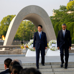 U.S. President Barack Obama and Japan's Prime Minister Shinzo Abe attend a ceremony on Friday at the Atomic Bomb Dome at Peace Memorial Park in Hiroshima, Japan.