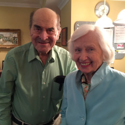 Dr. Henry Heimlich (left), the 96-year-old Cincinnati surgeon credited with inventing the life-saving technique named for him, poses with Patty Ris, 87, who he saved this week from choking on a hamburger, on Friday at the Deupree House seniors' home in Cincinatti, Ohio.