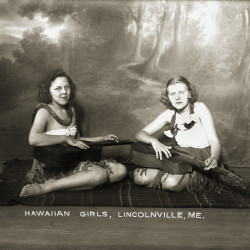 "This postcard showing two Lincolnville girls dressed like Hawaiian maidens in the early 1900s is part of the Penobscot Marine Museum in Searport's new exhibit, ""Wish You Were Here: Communicating Maine."""