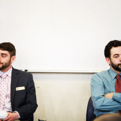David Boyer (left), head of the Campaign to Regulate Marijuana Like Alcohol, and Scott Gagnon of the group Smart Approaches to Marijuana, faced off in a forum hosted by the Maine Law Federalist Society on April 20, 2015, in Portland.