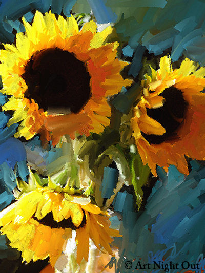 art night out in south portland paint sunflowers step by