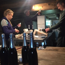 Michael Terrien (center), his daughter Frances Terrien (left) and Eric Martin work on labeling wine on Thursday in the basement of a barn in Jefferson.