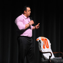 Mike DeVito of Kansas City Chiefs speaks at Husson University's Gracie Theatre, March 24, 2014.