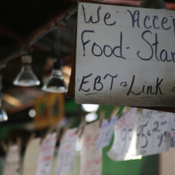 A store in St. Louis, Missouri, indicates it accepts food stamp benefits.