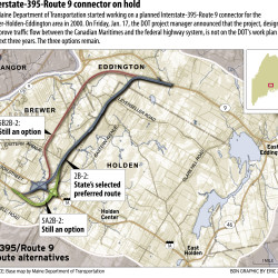 The Maine Department of Transportation started working on a planned Interstate-395-Route 9 connector for the Brewer-Holden-Eddington area in 2000.