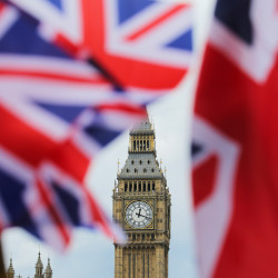 The British nationals flag flies in front of the Big Ben clock tower in London, June 24, 2016. In a referendum the day before, Britons voted by a narrow margin to leave the European Union.
