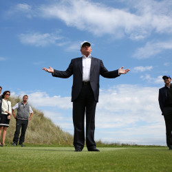 Republican presidential candidate Donald Trump speaks to the media on the golf course at his Trump International Golf Links in Aberdeen, Scotland, June 25, 2016.