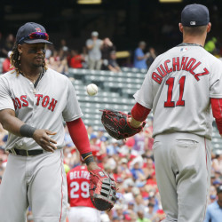 Boston Red Sox first baseman Hanley Ramirez (left) tosses the ball back to starting pitcher Clay Buchholz in the first inning against the Texas Rangers Sunday at Globe Life Park in Arlington, Texas.