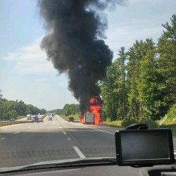 A vehicle was on fire along the Maine Turnpike in York County Monday.