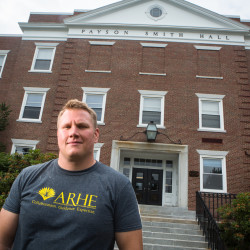 Andrew Kiezulas, a chemistry major in longterm recovery from addiction, stands on the University of Southern Maine's Portland campus on Tuesday before heading to a student recovery group meeting. In August, USM will launch an on-campus recovery center — the first of its kind in Maine.