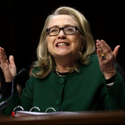 U.S. Secretary of State Hillary Clinton responds forcefully to intense questioning on the September attacks on U.S. diplomatic sites in Benghazi, Libya, during a Senate Foreign Relations Committee hearing on Capitol Hill in Washington, D.C., Jan. 23, 2013.