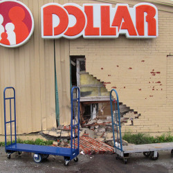 An elderly woman drove her car into the Family Dollar near the Hannaford supermarket on Broadway in Bangor on Wednesday. The car crashed into a restroom.