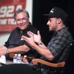 New England Patriots wide receiver Danny Amendola (right) answers a question as Dale Duff reacts Wednesday evening at the Gracie Theatre at Husson University in Bangor.