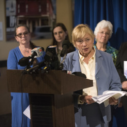 Maine Attorney Genaral Janet Mills answers questions during a press conference about the release of a report by the Domestic Abuse Homicide Review Panel on Thursday at the State House in Augusta.