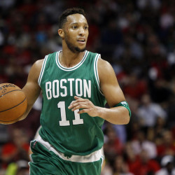 Boston Celtics guard Evan Turner dribbles against the Atlanta Hawks in the third quarter in Game Five of the first round of the NBA Playoffs.