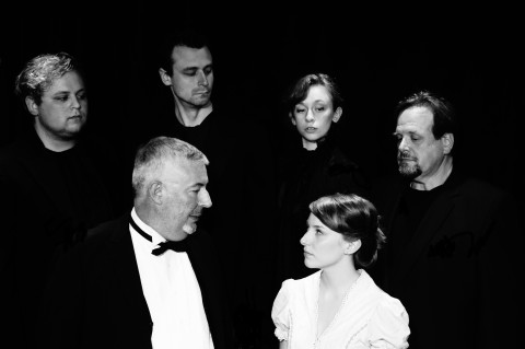 The acting company at the Acadia Repertory Theatre in Somesville presents Jeffrey Hatcher's &quotDr. Jekyll and Mr. Hyde&quot through July 24. (Back row) Jonathan Wells, David Blais, Mary Paola and Frank Bachman portray Edward Hyde and (front row) Bernard Hope plays Dr.  Henry Jekyll and Hannah Kulus is Elizabeth Jelkes.