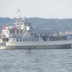 The former ferry and floating restaurant Monhegan has been moored unattended in Rockland Harbor for more than two years.