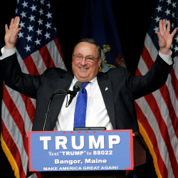Maine Gov. Paul LePage introduces U.S. Republican presidential candidate Donald Trump at a campaign rally in Bangor, Maine, June 29, 2016.