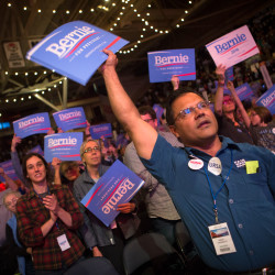 Supporters of Bernie Sanders cheer at the Democratic State Convention in Portland in this May 2016 file photo.
