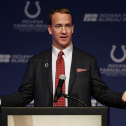 Indianapolis Colts retired quarterback Peyton Manning speaks after he has his jersey is retired and a announcement is made that a statue will be built in his honor during in a press conference at Indiana Farm Bureau Football Center.