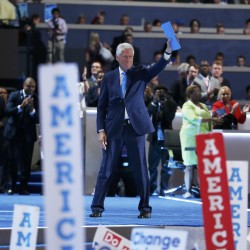 Former President Bill Clinton waves after his speech during the Democratic National Convention in Philadelphia, Pennsylvania, July 26, 2016.