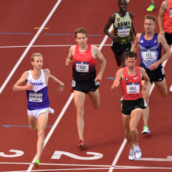 William Kincaid (left) and Ben True (middle) and Ryan Hill (right) compete during the men's 5000 meter first-round heats in the 2016 U.S. Olympic track and field team trials at Hayward Field on July 4 in Eugene, Oregon.