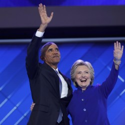 President Barack Obama and Democratic presidential nominee Hillary Clinton appear onstage together after his speech on the third night at the Democratic National Convention in Philadelphia, July 27, 2016.