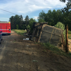 A Patten man suffered injuries Tuesday, July 27, 2016, after his tractor-trailer went off the road in Hodgdon. State police said he was negotiating a curve too quickly when he lost control of the vehicle.
