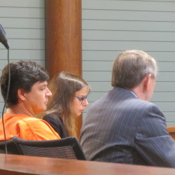 Erik Vultee (left) sits with attorneys Naomi Cohen (center) and Steven Peterson in Knox County Superior Court in Rockland in this August 2014 file photo.