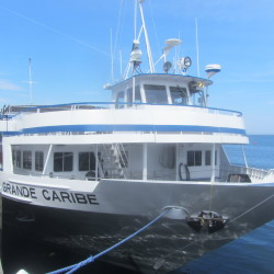 The cruise ship Grande Caribe is docked on Thursday at Journey's End Marina in Rockland.