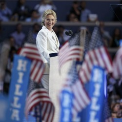 Democratic presidential nominee Hillary Clinton smiles as she accepts the nomination on the fourth and final night at the Democratic National Convention in Philadelphia, Pennsylvania, on Thursday.