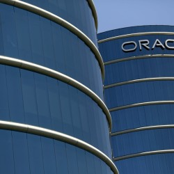 The Oracle logo is seen on its campus in Redwood City, California, June 15, 2015.
