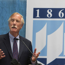 Sen. Angus King speaks on Friday at the Process Development Lab at the University of Maine in Orono. King along with Matt Erskine, deputy assistant secretary of commerce for economic development and chief operating officer of the Economic Development Administration, Sen. Susan Collins and Rep. Bruce Poliquin announced plans for an Economic Development Assessment Team, which will explore ways to keep Maine's forest products industry alive in the wake of several mill closures.